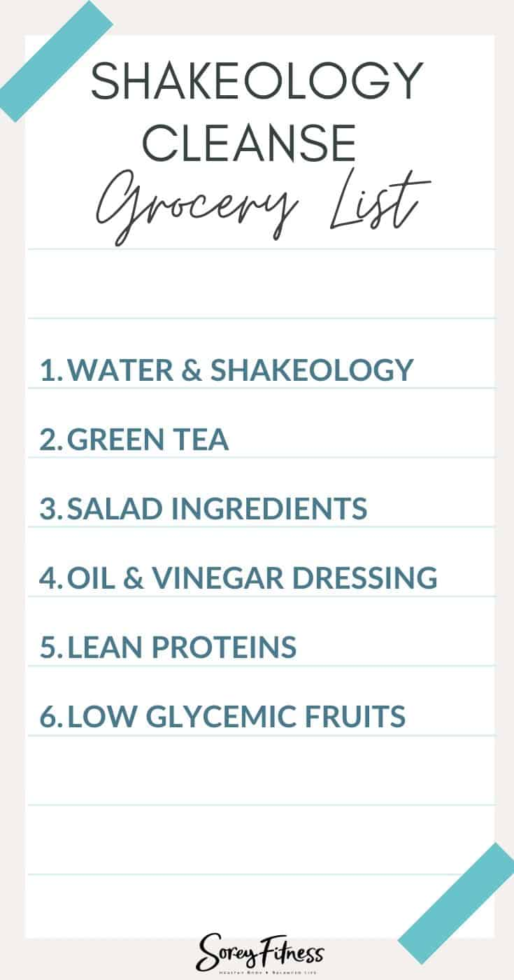 Shakeology Cleanse Grocery List