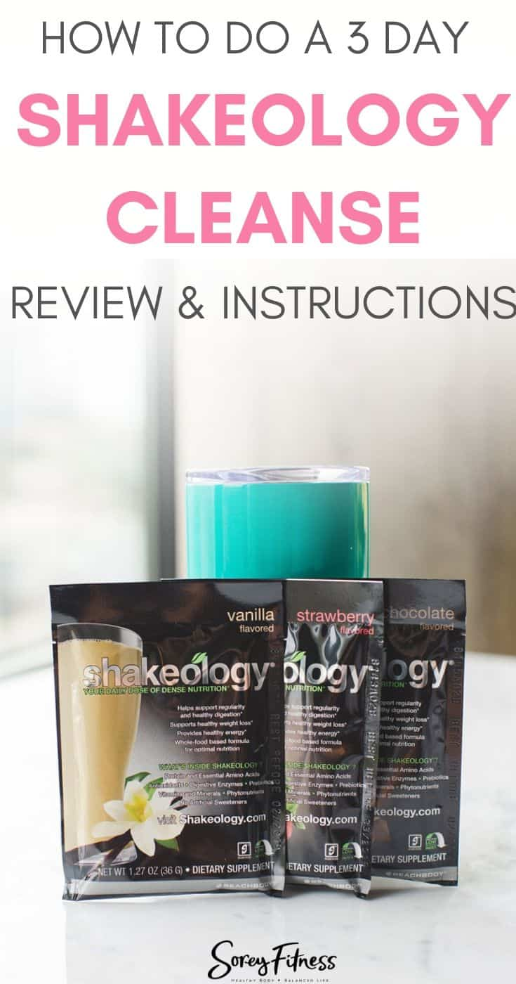 """3 Packets of Shakeology and a insulated cup with the words """"How to do a 3 Day Shakeology Cleanse"""""""