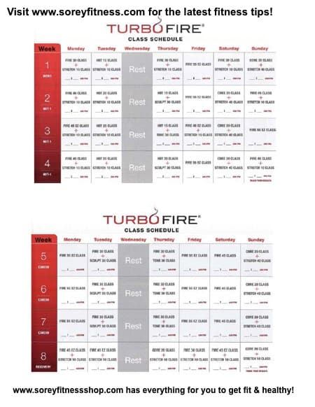 TurboFire Schedule and Printable Workout Calendar - 20 Week Plan