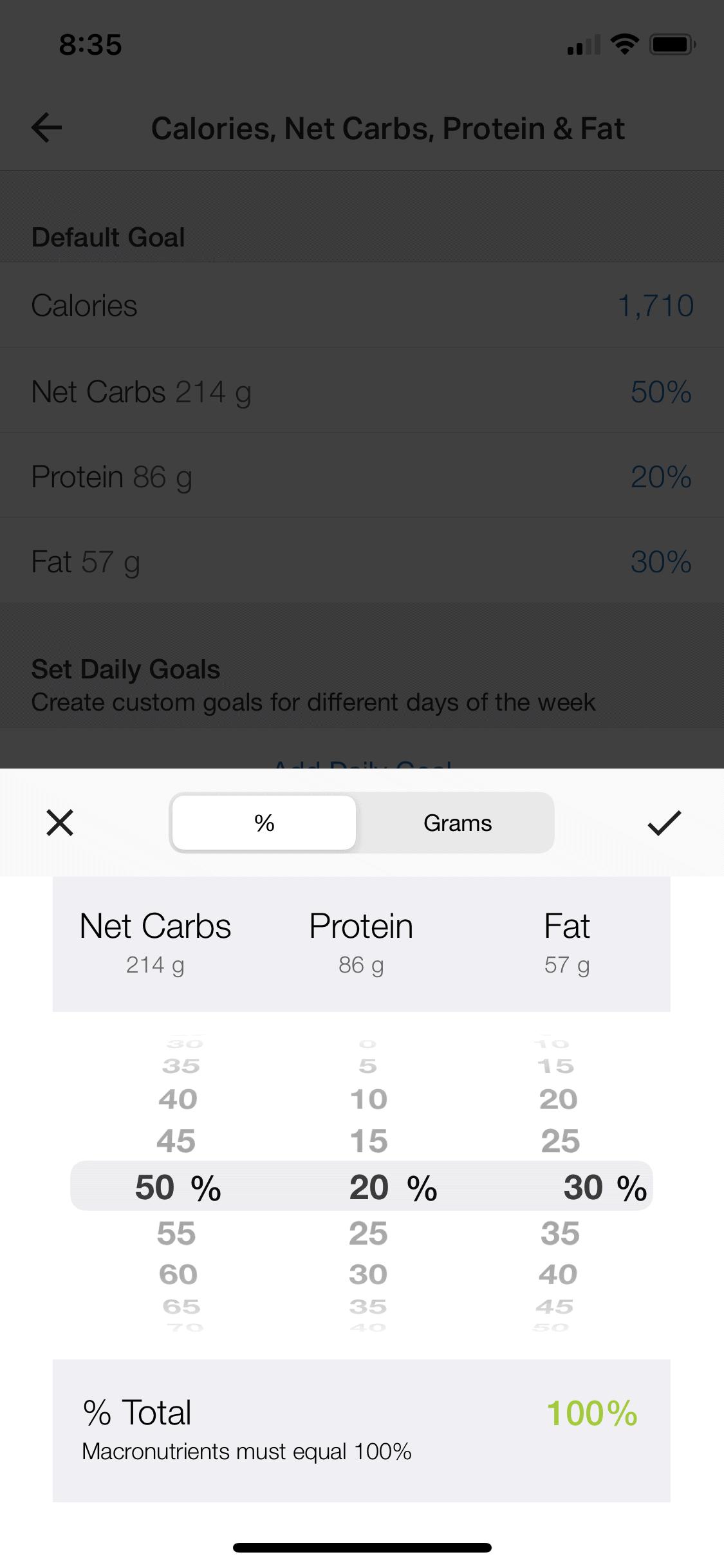 Setting macro goals in MyFitnessPal