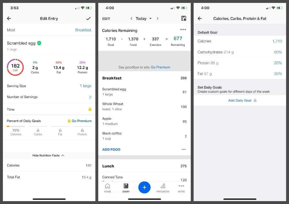 MyFitnessPal calorie tracking