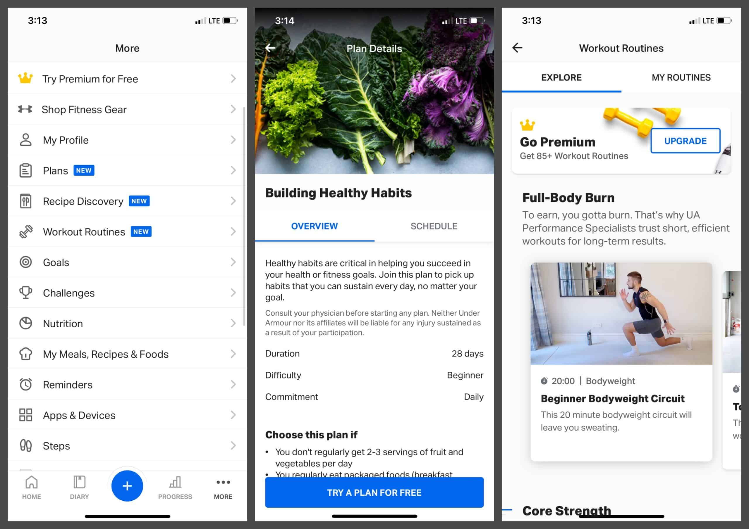 MyFitnessPal screenshots of plans and workout routines