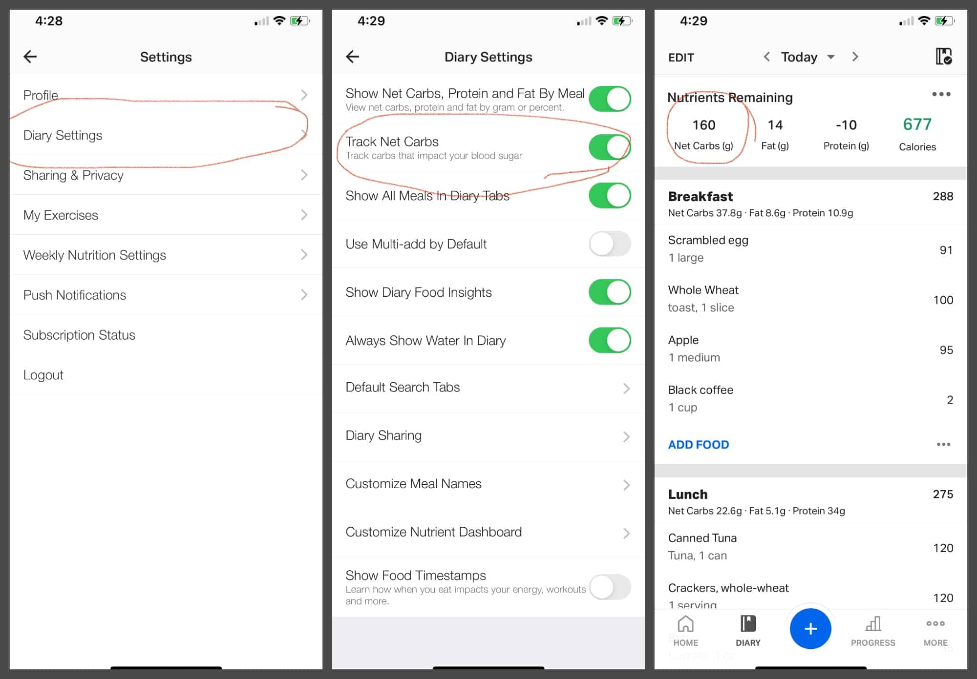 How to track net carbs in MyFitnessPal