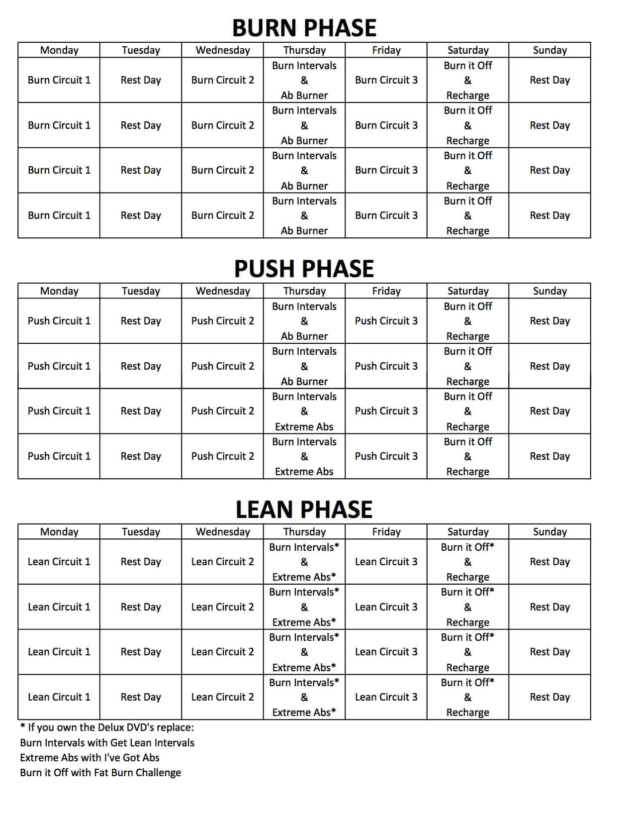 ChaLEAN Extreme & Deluxe Options Workout Schedule Calendar