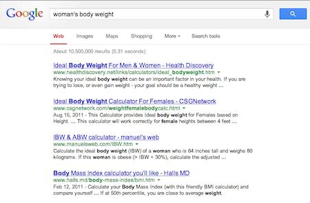 Woman's Body Size