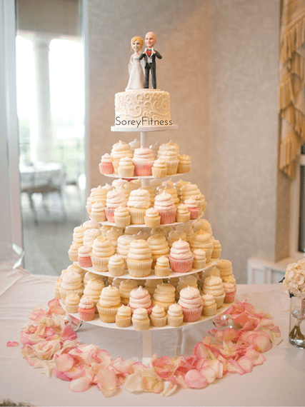 GiGi's Cupcakes Wedding Cake with custom Etsy Cake Topper