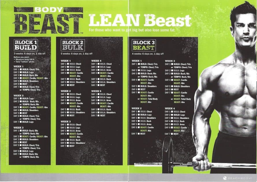 lean beast schedule of workouts