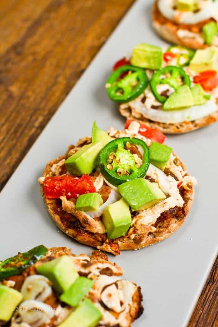 Mini Nacho Pizzas as a Healthy Football Snack