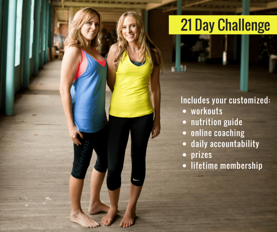 Kim and Kalee with the words 21 Day Challenge Includes Workouts Nutrition Guide Online Coaching Daily Accountability Prizes and Lifetime Membership