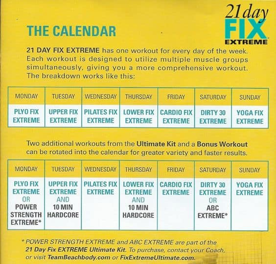 21 day fix extreme schedule