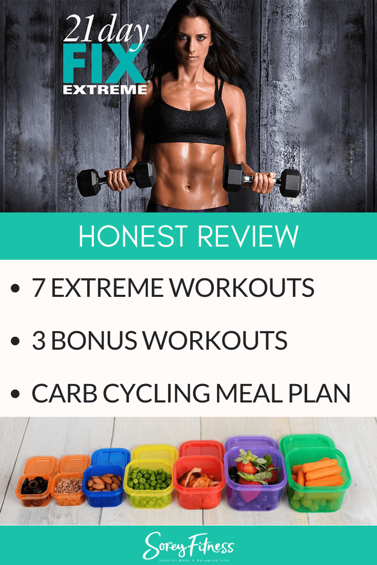 """Autumn Calabese with doing a bicep curl with the 21 Day Fix Extreme logo - Word read """"Honest Review - 7 Extreme Workouts, 3 Bonus Workouts, and Carb Cycling Meal Plan"""""""