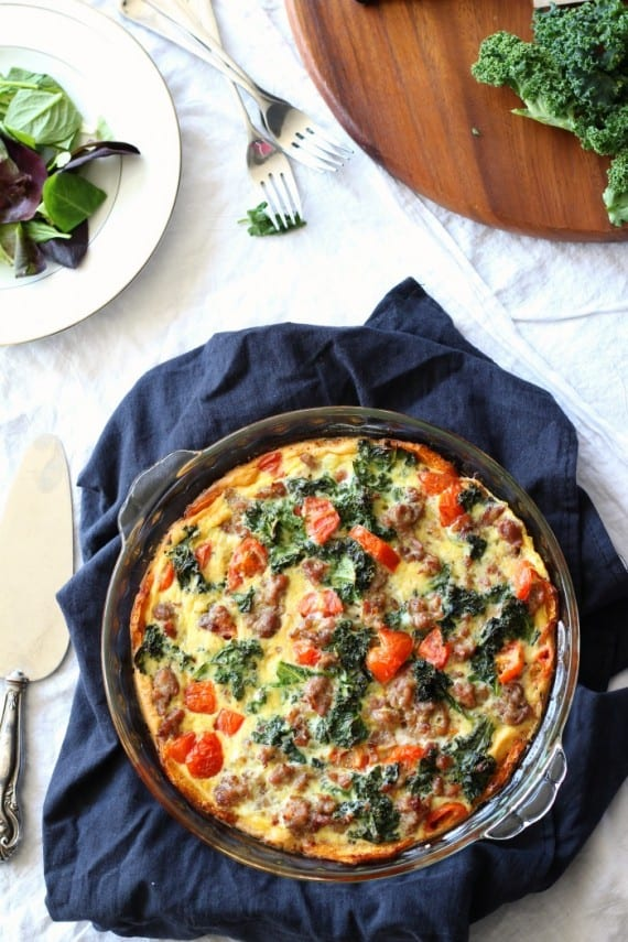 butternut crusted quiche with tomatoes sausage and kale - whole30