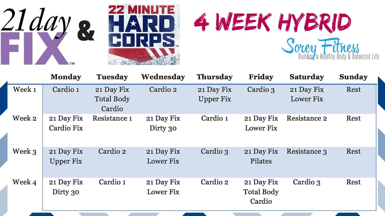 21 Day Fix 22 Minute Hard Corps Hybrid Workout Schedule