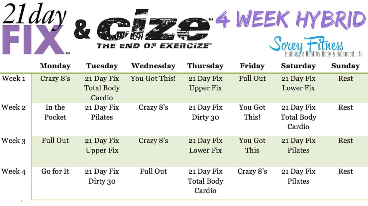 21 day fix cize hybrid workout calendar soreyfitness