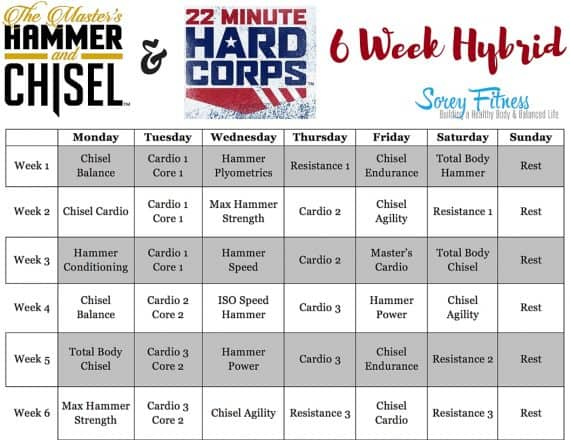 22 Minute Hard Corps Hammer and Chisel Hybrid Workout Calendar