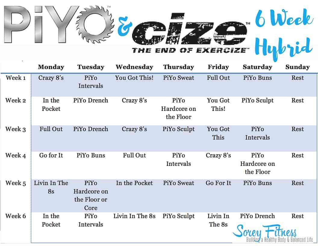 PiYo Cize Hybrid Workout Calendar