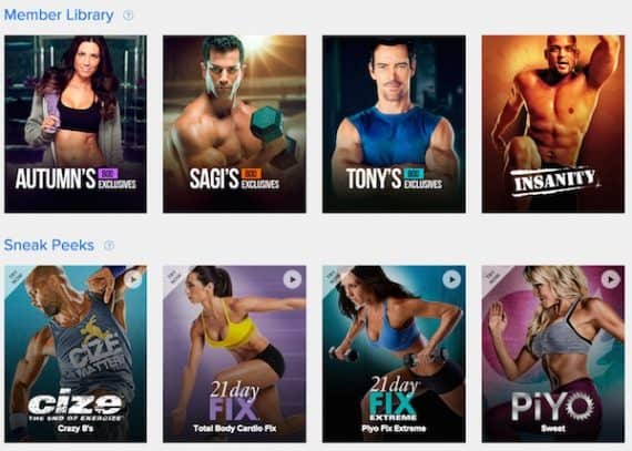 Workouts Organized with Beachbody On Demand Streaming