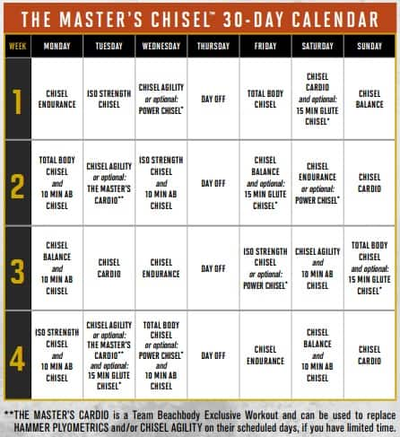 Master's Chisel Calendar - 30 Days of Workouts & Meal Plans