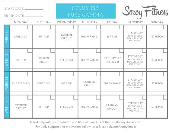 Phase 3 of the T25 Calendar Printable - Gamma Phase