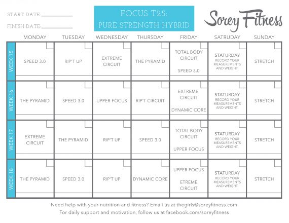 Phase 4 of the T25 Schedule Printable - Pure Strength