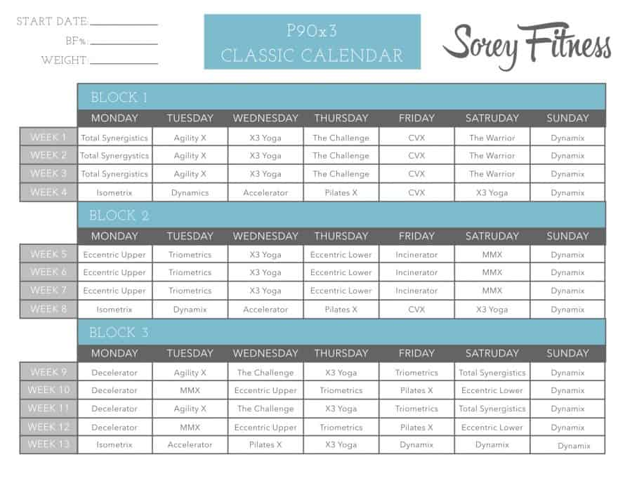 P90X3 Classic Schedule