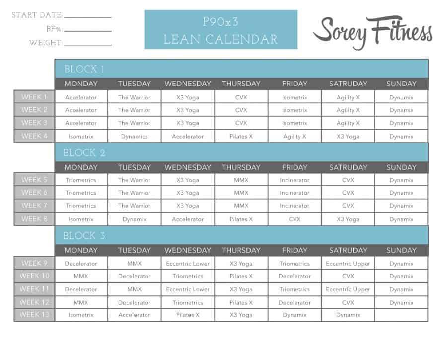 P90X Lean Calendar