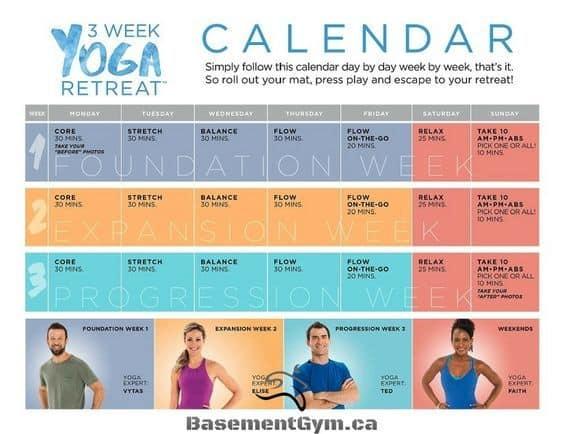 3 week yoga retreat calendar