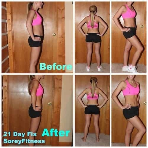 21 day fix results shown as a before and after