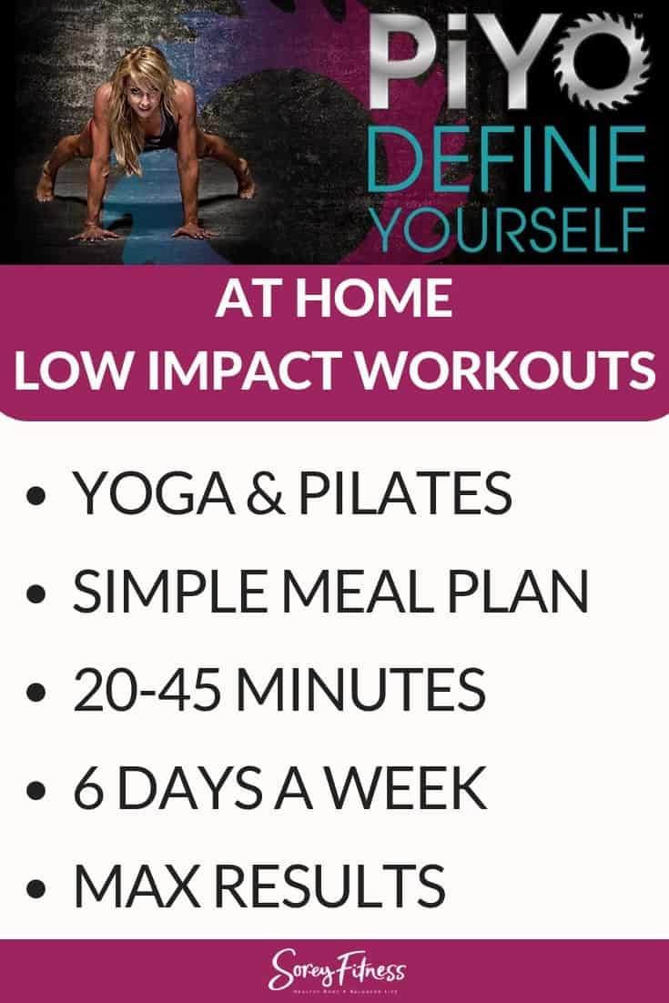 A long image explaining what the piyo workout program is. It is a low impact workout program combining yoga and pilates 6 days a week. It also includes a meal plan.