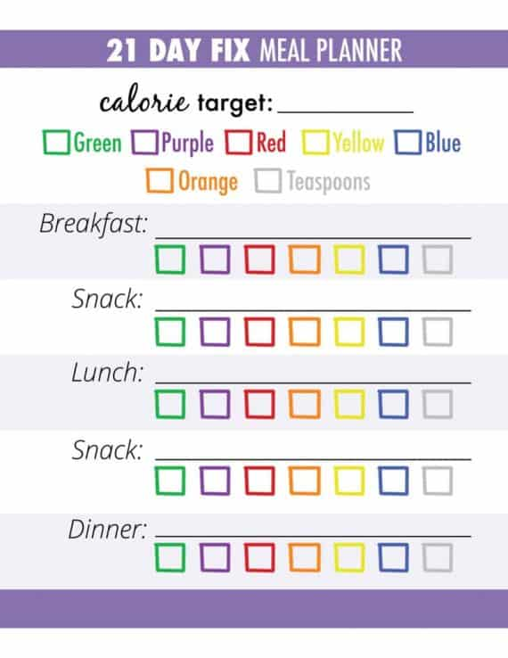 21 day fix meal plan template