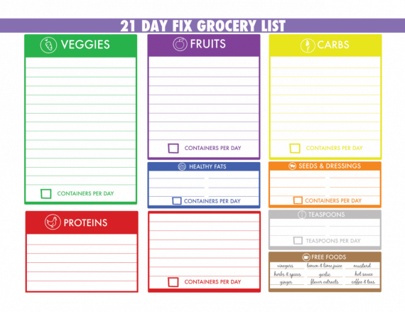 21 Day Fix Grocery List - 21 Day Fix Shopping List