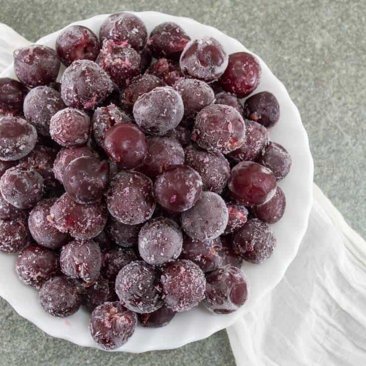 frozen grapes in a bowl