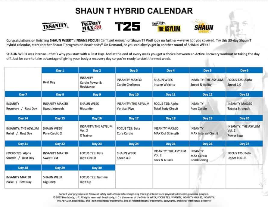 Shaun T Hybrid Schedule 30 Day Calendar