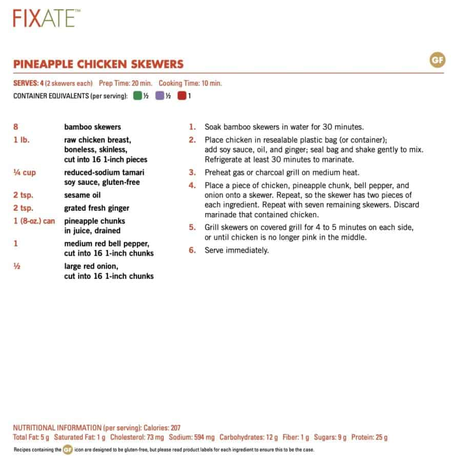 FIXATE Cookbook Recipe Format