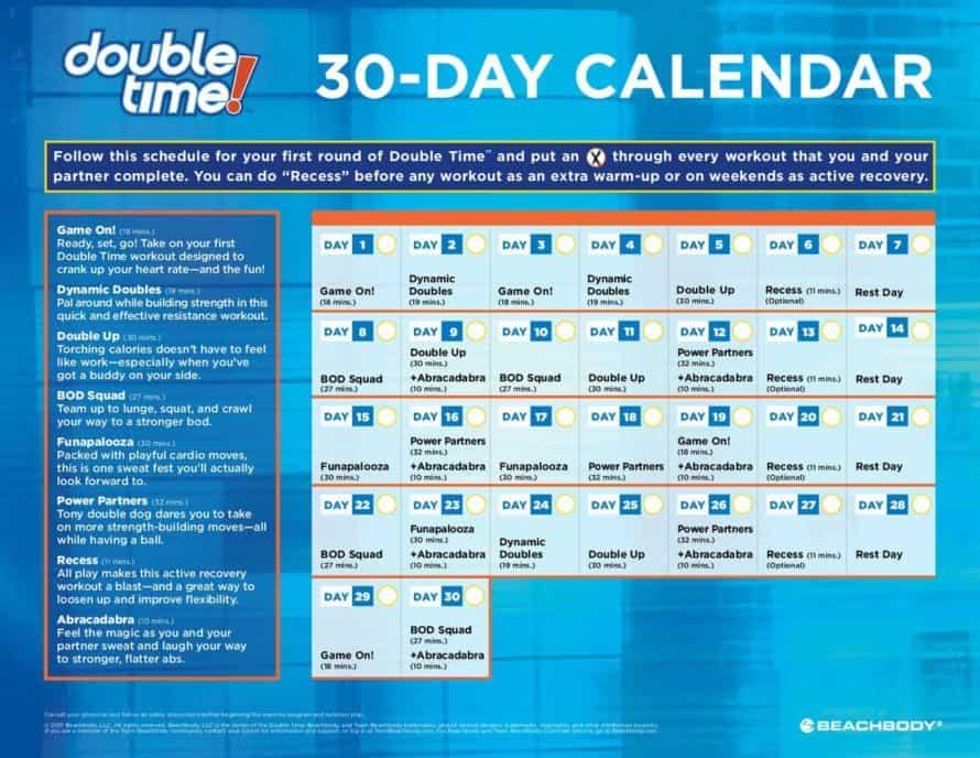 Tony Horton Double Time 30 Day Adult Calendar