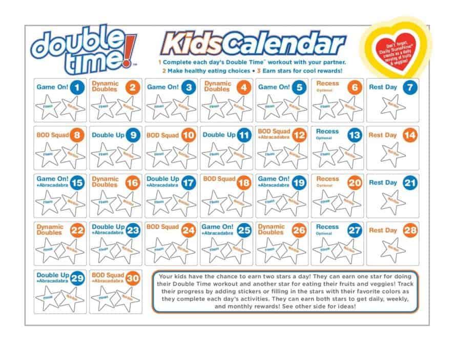 Double Time Kids Workout Calendar