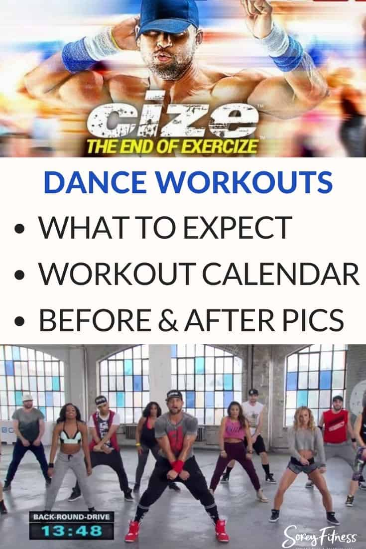 Cize Review Collage with the words - what to expect, workout calendar, and before and after photos