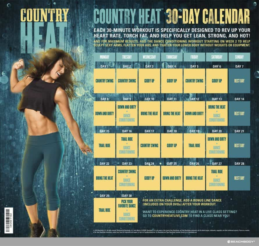 Country Heat 30 Day Workout Calendar