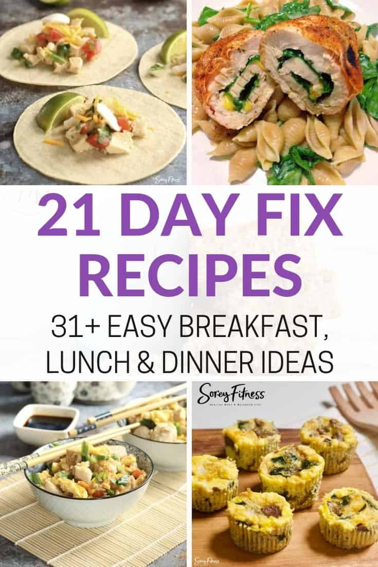 21 Day Fix Recipe Collage of tacos, chicken wrap, cauliflower rice and egg cups