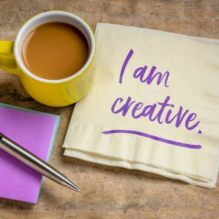 I am creative written on a napkin