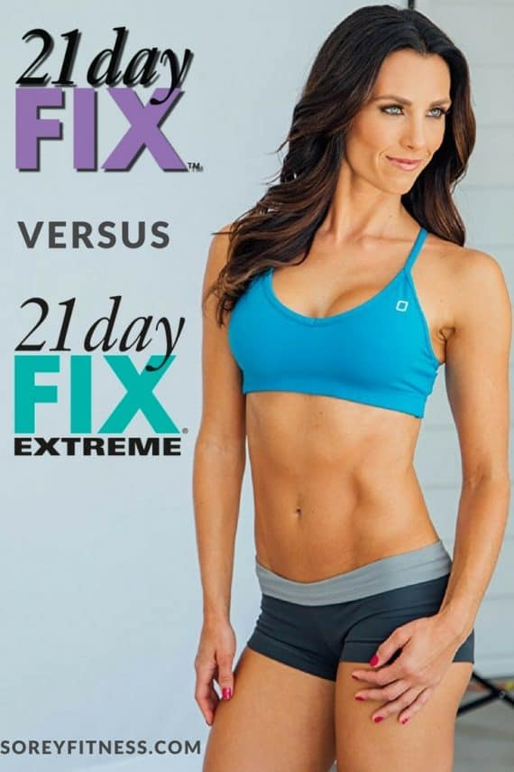 The 21 Day Fix is designed for beginners wanting to lose weight whereas the 21 Day Fix Extreme helps advanced exercisers get leaner and lower body fat. Both programs include 30-minute workouts and use portion control containers. 21 Day Fix Extreme includes plyo moves and an additional meal plan option.