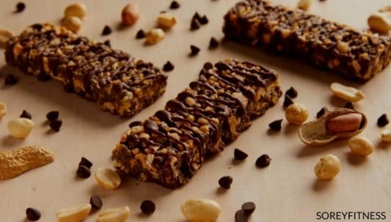 Beachbody's Snack Bars Shown with Nuts and Chocolate Chips