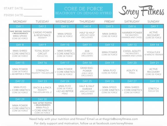 Beachbody's Core De Force Calendar – 3 Workout Schedules