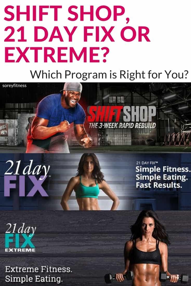 Comparison Shift Shop Vs 21 Day Fix And 21 Day Fix Extreme