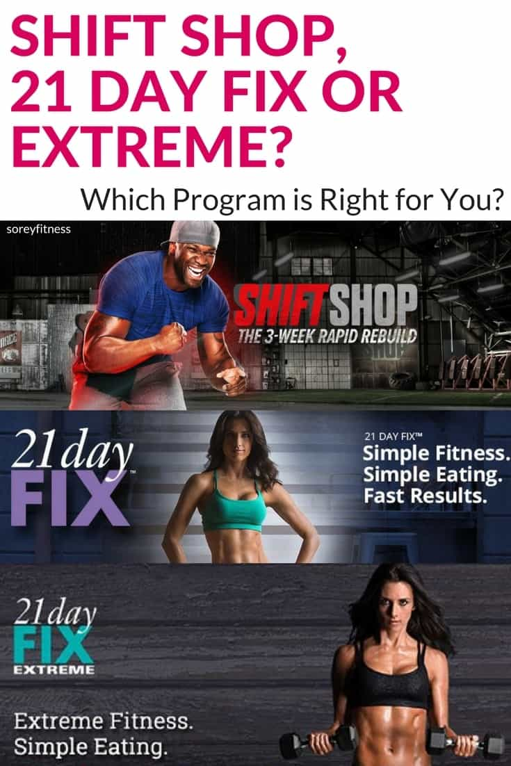 Comparison: Shift Shop vs 21 Day Fix and 21 Day Fix Extreme