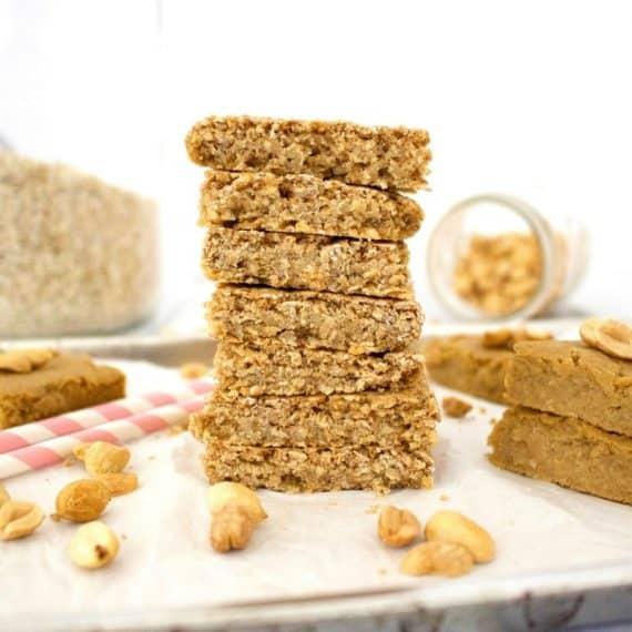Peanut Butter Oatmeal Blondies-(Vegan, Gluten-Free, Oil-Free)