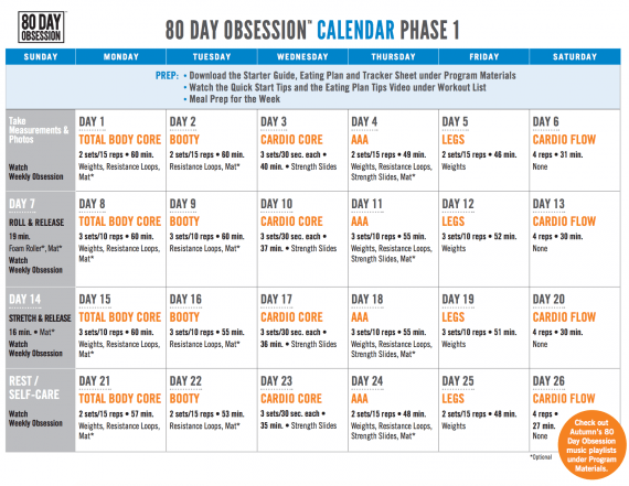 80 Day Obsession Calendar Schedule