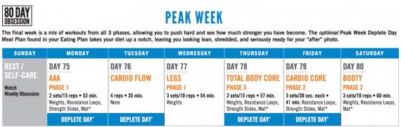 80 Day Obsession Schedule Peak Week