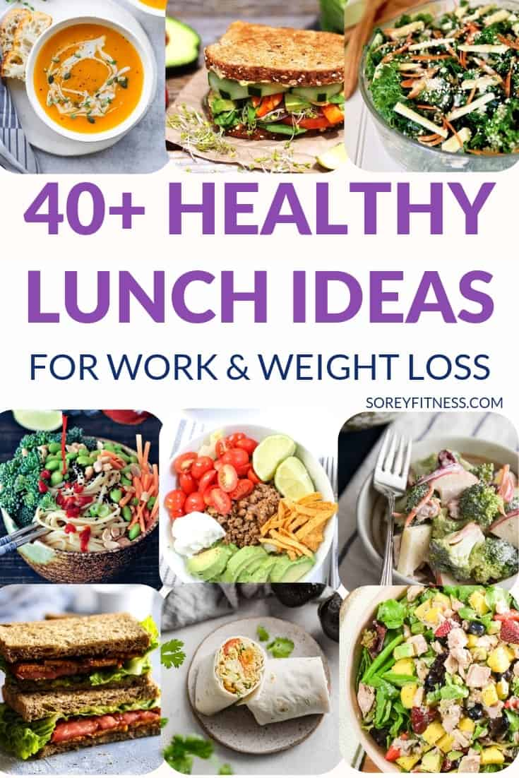 Collage of 9 healthy lunch ideas