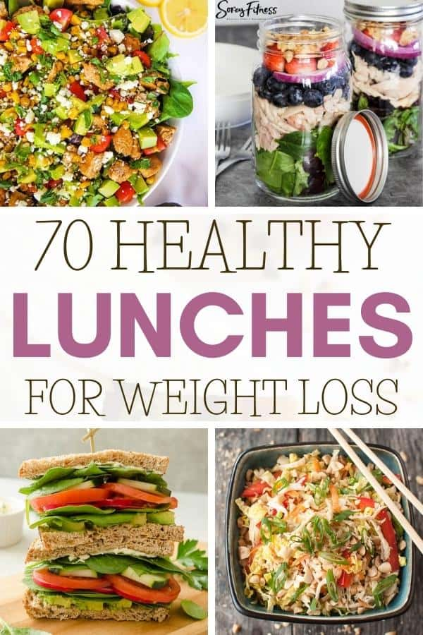 collage of healthy lunches for weight loss at school or work